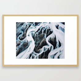 Aerial of an abstract River in Iceland Framed Art Print