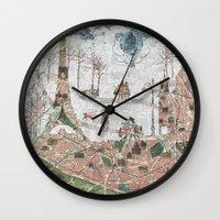 paris map Wall Clocks featuring Paris Map by Paula Belle Flores
