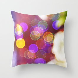 Bright and Blurred City Lights Throw Pillow