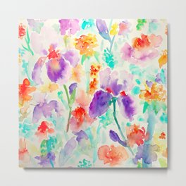 Watercolor Abstract Floral Pattern purple Orange Blue Iris Metal Print