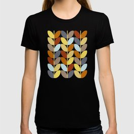 Retro 70s Color Palette Leaf Pattern T-shirt