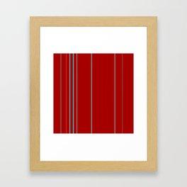 Modern Vertical Holiday Red Stripes Framed Art Print