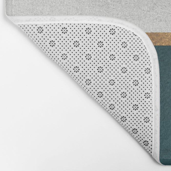 Deep Green, Gold and White Color Block Bath Mat