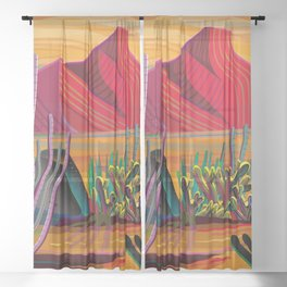 Cactus Garden Sunset Square Sheer Curtain