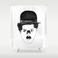 chaplin Shower Curtains featuring Charlie Chaplin by creaziz