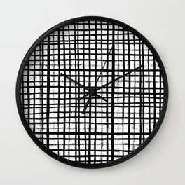 Essie - Grid, Black and White, BW, grid, square, paint, design, art Wall Clock