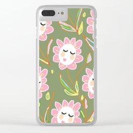 Springy Ladyflowers Clear iPhone Case