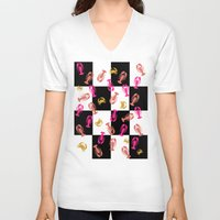lobster V-neck T-shirts featuring Lobster Checkers by Alan Hogan