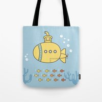 yellow submarine Tote Bags featuring Yellow Submarine by Brenda Figueroa Illustration