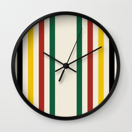 Rustic Lodge Stripes Black Yellow Red Green Wall Clock