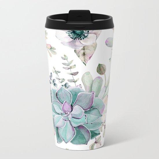 Succulent Garden Metal Travel Mug