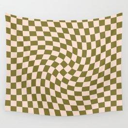 Check VI - Green Twist — Checkerboard Print Wall Tapestry