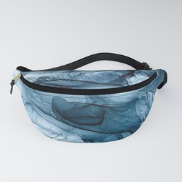 Churning Blue Ocean Waves Abstract Painting Fanny Pack