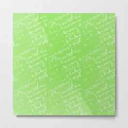 French Script on Lime Green Metal Print