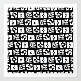 Black white abstract hand painted geometrical pattern Art Print