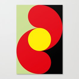 This is a sun splitting the sky in two sides, one black, one green. Spitting deep red round rays. Canvas Print