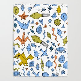 Marine animals and plants, Stylized origami Poster