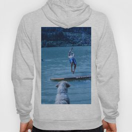 Dog watches master jump in water (Summertime reflections) Hoody