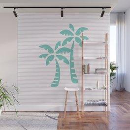 Palm Trees & Stripes - Aqua / Blush Wall Mural