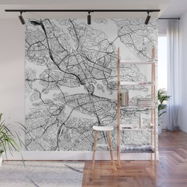 Stockholm White Map Wall Mural