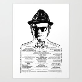 Jake Blues Brothers tattooed 'Four Fried Chickens' Art Print