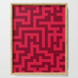 Crimson Red and Burgundy Red Labyrinth Serving Tray