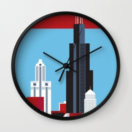 Chicago, Illinois - Skyline Illustration by Loose Petals Wall Clock