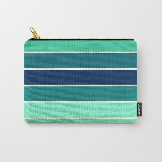 Stripes Aqua & Teal  Carry-All Pouch
