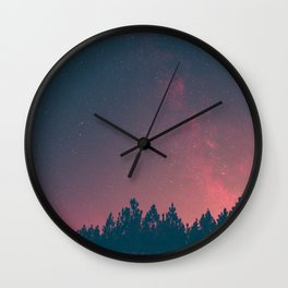 Pink And Black Milky Way Galaxy Forest Wall Clock