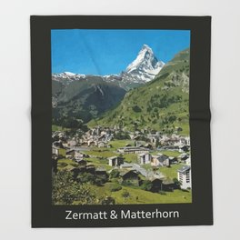 Retro Swiss travel Zermatt and Mount Matterhorn  Throw Blanket