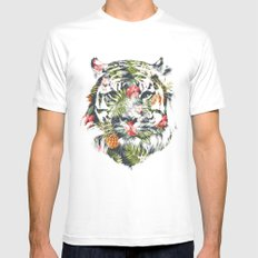 Tropical tiger White MEDIUM Mens Fitted Tee