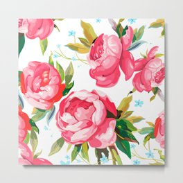 Beautiful Floral Bouquet  Pink Flowers Patterns Metal Print