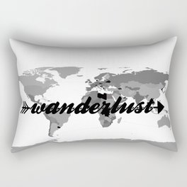 Wanderlust Black and White Map Rectangular Pillow