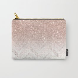 Modern faux rose gold glitter ombre modern chevron stitches pattern Carry-All Pouch