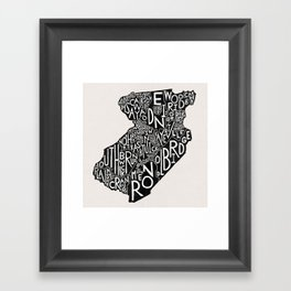 Middlesex County, New Jersey Map Framed Art Print