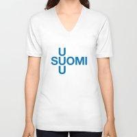 finland V-neck T-shirts featuring FINLAND by eyesblau