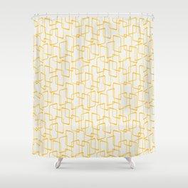 Reverse Yellow Retro Geometric Pattern Shower Curtain