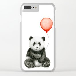 Baby Panda and Red Balloon Clear iPhone Case