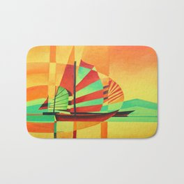 Chinese Junks Sail to Shore  Bath Mat