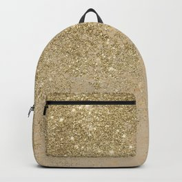 Girly trendy gold glitter ivory marble pattern Backpack