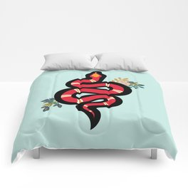 Red & Teal Colored Snake and Foliage Design Comforters