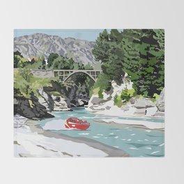 Shotover River, Queenstown, New Zealand Throw Blanket
