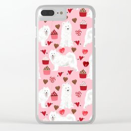 Samoyed valentines day dog portrait cute puppy dogs hearts love valentine for dog person Clear iPhone Case