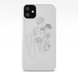 Minimal Line Art Woman with Flowers III iPhone Case