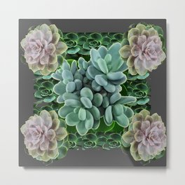 GARDEN OF GRAY-GREEN PINK SUCCULENTS Metal Print