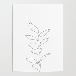 Plant one line drawing illustration - Kay Poster