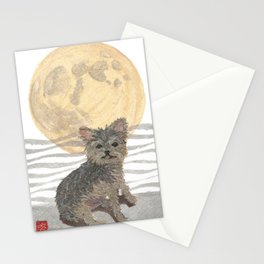 YORKIE, MOON, Yorkshire Terrier, Dog  Stationery Cards