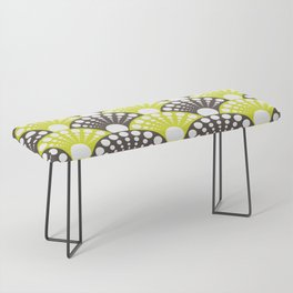 brown and lime art deco inspired fan pattern Bench