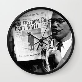 Our Freedom Can't Wait - Malcolm X Wall Clock
