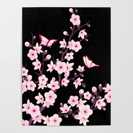 Cherry Blossoms Pink Black Poster